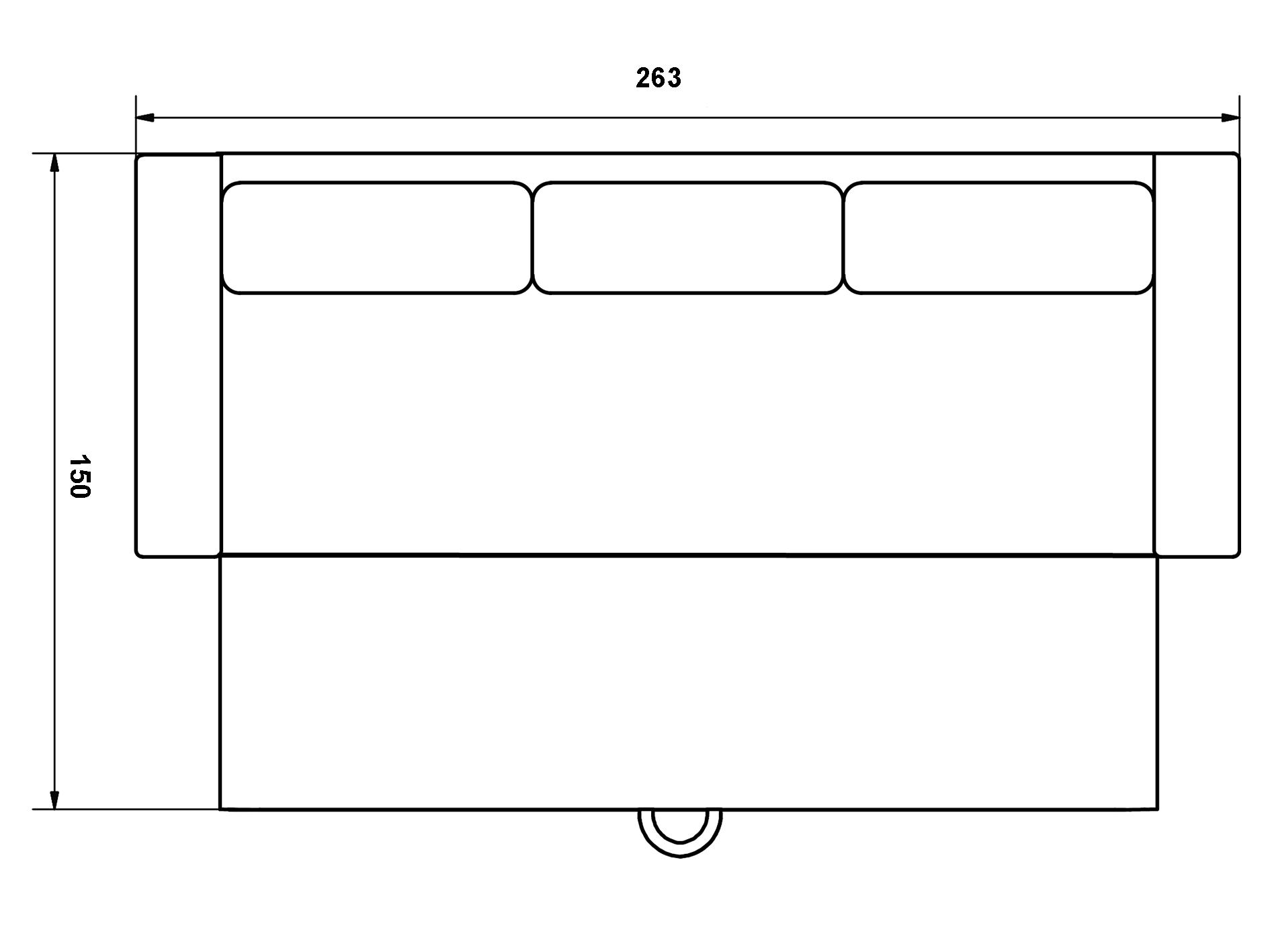 Abmessung 3 sitzer Schlafsofa Storage